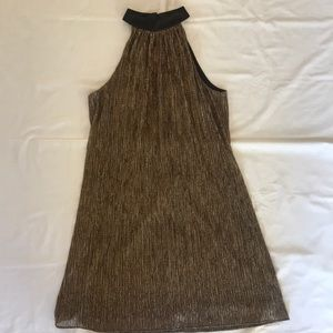 LAUNDRY Shelli Segal cocktail party dress gold 10